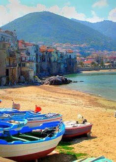 Beach in Cefalú, Sicily, Italy