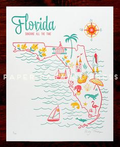 Florida State Letterpress Print 8x10 by paperparasolpress on Etsy, $27.00 #paperparasolpress #florida
