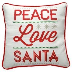 Add a joyful touch to your living room sofa or guest bedding with this charming holiday pillow, featuring a bold text motif in red.