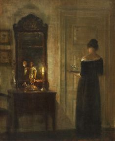 """catonhottinroof: """" Carl Holsøe Interior with a woman in candlelight """" Classic Paintings, Paintings I Love, Beautiful Paintings, Aesthetic Art, Aesthetic Pictures, Aarhus, Realistic Drawings, Ancient Art, New Art"""