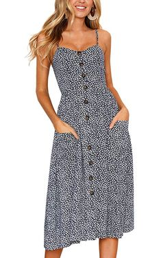 1015c00b7939 Angashion Women s Dresses-Summer Floral Bohemian Spaghetti Strap Button Down  Swing Midi Dress With Pockets