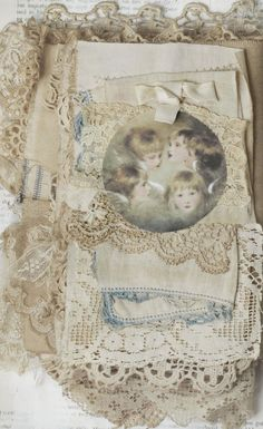 Mixed Media Fabric Collage Book of Cherubs and Old Lace   eBay