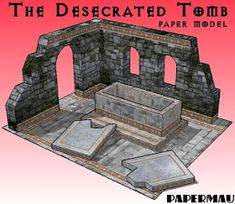 Here is the Desecrated Tomb Diorama paper model, ready to download.  The model occupies eight sheets of paper, including the base.  I also ...