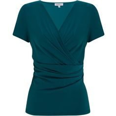 Kaliko Side Wrap Jersey Top, Mid Teal found on Polyvore