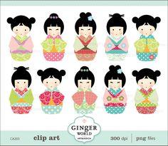 Japanese kokeshi Doll kawaii clip art digital file illustration for scrapbooking (CA203). $5.50, via Etsy.