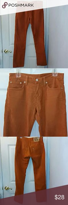 Men's 29x32 Levi's 511 burnt orange cords 1% elastane for a comfortable fit. Discontinued and hard to find, these gorgeous burnt orange Levis are a staple for every Casual and Mod lad. Excellent condition apart from some wear on the very inside of the back legs as seen in photo. When standing, it's not even noticeable. Please let me know if you have any questions. Levi's Pants Corduroy