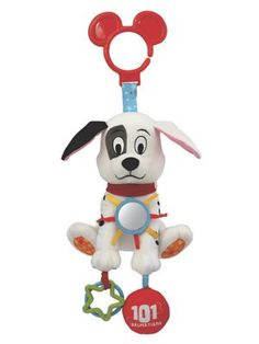101 Dalmatians Patch Activity Toy: What a fun baby toy: it's Patch from Disney's 101 Dalmatians! Baby will love exploring this multi-textured activity toy's crinkly ears, teething rings, squeaker, mirror and ribbons. And when your little one shakes the plush dog, she's rewarded with a pleasing chime. Great travel toy; clips to strollers and baby gyms...