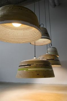 very cool use of discarded cardboardboxes!! Beute Lamps by Michael Wolke