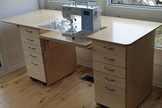Interesting Choose the Right Sewing Machine Ideas. Cleverly Choose the Right Sewing Machine Ideas. Sewing Desk, Sewing Cabinet, Sewing Table, Sewing Rooms, Sewing Room Design, Sewing Studio, Sewing Room Organization, Home Office Organization, Organizing