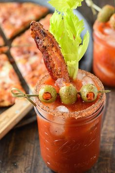 Spicy Bacon Bloody Mary paired with a Trio Bacon #BonAppétitPizza! The perfect brunch!