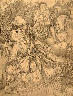 A Tribute to Adrienne Ségur, by Terri Windling, Journal of Mythic Arts, Endicott Studio - an illusstration for White Cat