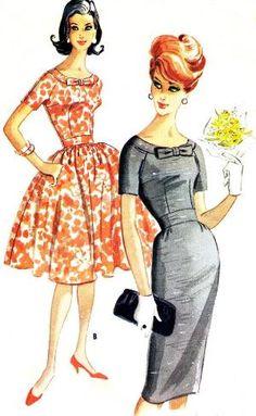 1960-х платье выкройка Mccallsдля 5736 реглан лук paneenjerez, $30.00 на lily22