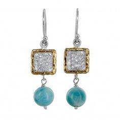 Sterling Silver Larimar Bead & Cubic Zirconia Square Dangle Earrings