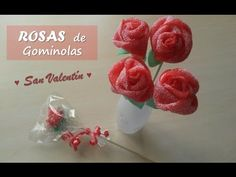 Rosas de chuches o gominolas. Candy roses. [San Valentín - Valentine's Day] - YouTube Chocolate San Valentin, Candy Kabobs, Cupcake Crafts, Decorator Frosting, Rose Bonbon, Candy Flowers, Chocolate Fountains, Gum Paste Flowers, Chocolate Bouquet