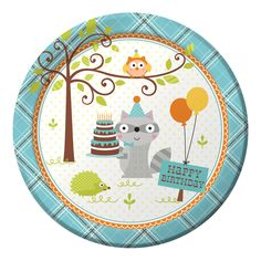 "Happi Woodland Boy Dinner Plates (8) Includes (8) themed dinner plates. Each paper plate measures approximately 9"" in diameter. Weight (lbs) 0.24 Length (inches) 8.75 Width (inches) 8.75 Height(inches"