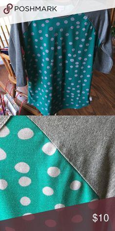 Teal and grey randy Teal and grey printed randy LuLaRoe Tops Tees - Short Sleeve