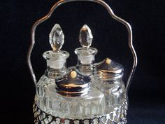 Table Center  Vintage Tray  With Salt and Pepper Shakers Oil and Vinegar Glass Bottle