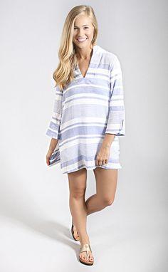 melanie tunic blue stripe