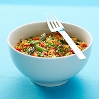 Couscous with asparagus, peppers and sugar snap pea pods