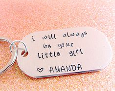 I Will Always be Your Little Girl Dogtag Keychain for Dad from Daughter - Gifts for Dad - Family - Father's Day Gift for Dad or Grandpa