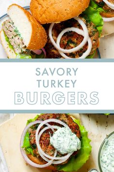 Rethink burger night with these Savory Turkey Burgers.  Serve up your burger with all the burger fixings you crave plus a flavorful and guilt-free yogurt sauce that makes burger night healthy! Danette May, Burger Night, Yogurt Sauce, Turkey Burgers, Guilt Free, Served Up, Clean Eating Recipes, Ground Beef, Cravings