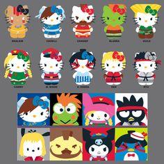 Adoraria ter na minha coleção essa #Wishlist de #Pelúcias e produtos da #HelloKitty fantasiada de outros personagens | www.corujinhalulu.com ---  #Capcom #Sanrio #StreetFighter #ChunLi #Ryu #Bison #Zangief #Honda #Ken #Dalsin