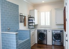 She Remodeled Her Laundry Room For Her Dog. Now? I'm Never Doing Laundry The Same Way. (Several examples of pet friendly laundry rooms)