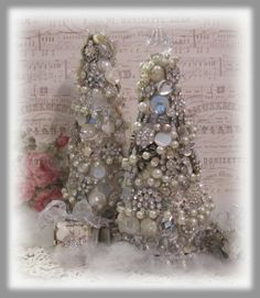 Artful Interludes: Blingy Jeweled Christmas Trees