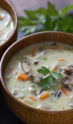 creamy wild rice and mushroom soup...