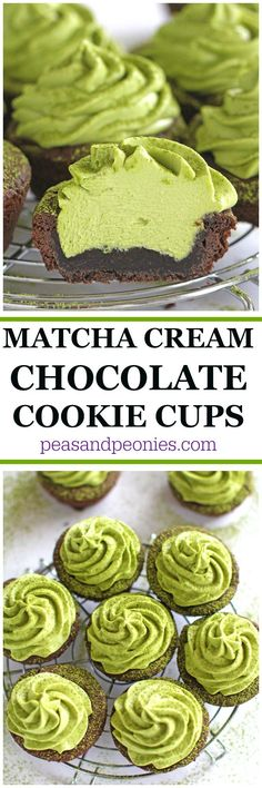Matcha Cookie Cups are a delightful combination of chocolate cookie cups filled with a creamy mascarpone and cream cheese matcha green tea frosting. #MomBlogTourFF #ad