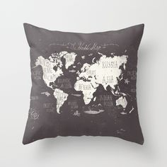 The+World+Map+Throw+Pillow+by+Mike+Koubou+-+$20.00
