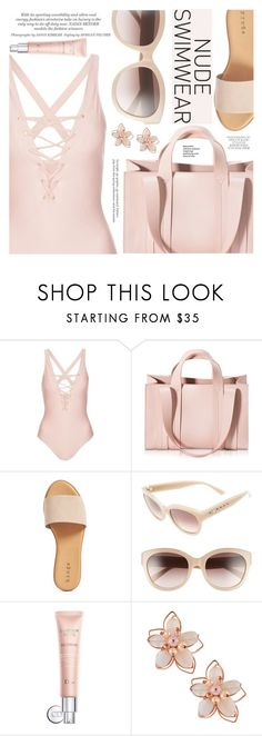 """Bare It All: Nude Swimwear"" by aislinnhamilton1993 ❤ liked on Polyvore featuring Topshop, Corto Moltedo, Hinge, MCM, Christian Dior, NAKAMOL, Summer, nude and nudeswimwear"