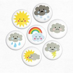 Cute Weather Magnet Set hownice on etsy Weather Crafts, Weather Activities, Kreative Jobs, Good Morning Posters, Preschool Crafts, Crafts For Kids, Weather For Kids, Carnival Crafts, Science Experiments For Preschoolers