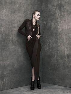 REFLECTIONS Leather V-neck Dress  www.urbanzen.com