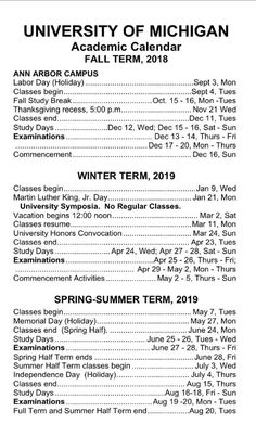 Umich Academic Calendar Spring 2020.89 Best Umich Images In 2019 University Of Michigan