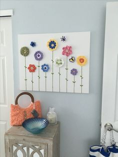 Crochet Flower Wall Art Flower Wall, Crochet Flowers, Cabinets, Kitchens, Wall Art, Frame, Crafts, Home Decor, Tejidos
