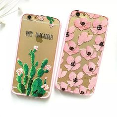 Customized Guacamole Cactus Floral Print Transparent TPU PC Skin Shell For APPLE iPhone 6 s + New Hot Fashion Phone Cover Case