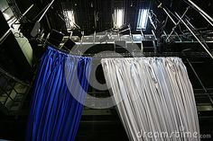 Photo about Decor canvas in a tv studio - blue and white backgrounds hung on rails. Image of architectural, hung, equipment - 78382467 Blue White Background, White Backgrounds, Hanging Rail, Tvs, Blue And White, Technology, Stock Photos, Studio, Architecture
