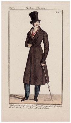 Top hat, Coat and Cane ~ Journal des Dames et des Modes, 1822.
