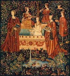 The bath, wall hanging of the noble life . Wool and silk 285 x 285 cm. Paris, Cluny Museum - National Museum of the Middle Ages. © RMN Grand Palais (Cluny Museum - Museum of the Middle Ages) / Franck Raux. Medieval Tapestry, Medieval Art, Medieval Times, Medieval Music, Unicorn Tapestries, Historical Images, Expositions, Illuminated Manuscript, Tapestry Wall Hanging