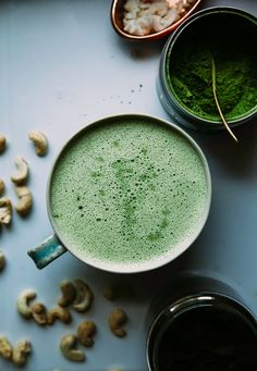 Coconut cashew matcha lattes are super creamy with just the right hit of caffeine. Ground vanilla and coconut butter make this healthy sip special.