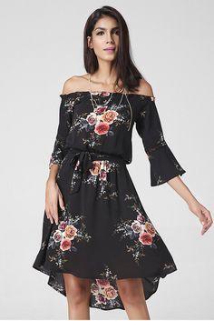 d4fe4c497021 Off Shoulder Trumpet 3 4 Sleeves Irregular Flower Print Short Dress. Vestiti  Dalla SpiaggiaMini VestitiSexy DressesAbiti ...