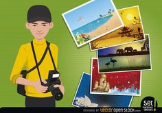 A young photographer holds his reflex camera and a bunch of landscape photos of different travel related sceneries are being displayed next to him. Photos feature a beach, a Chinese landscape, an African Safari, a Russian landscape and the Australian Opera House. Under Creative Commons 3.0 Attribution license.