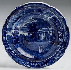 Northeast Auctions - THE COLLECTION OF CHESTER CREUTZBURG AND DAVID MARTIN - PART ONE. 3/5/16.   Lot 18: WOODLANDS NEAR PHILADELPHIA: PARTIAL SPREAD EAGLE BORDER,' STAFFORDSHIRE DARK BLUE TRANSFER-PRINTED CUP PLATE, JOSEPH STUBBS, BURSLEM, 1822-34. Estimated Price: $200 - $400. Realized: $90 (75).   Description: Diameter 3 1/8 inches. Provenance: William & Teresa Kurau Antiques, Lampeter, Pennsylvania, May 27, 1994.   Literature: An identical cup plate is illustrated in David and Linda…