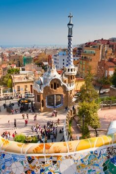 Colorful architecture by Antonio Gaudi. Parc Guell is the most important park in Barcelona.