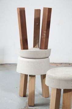 Concrete stools made using leftover offcuts by klemens schillinger