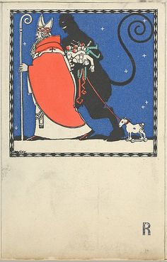 Josef Diveky (Hungarian, 1887–1951). St. Nicholas and Krampus Card, 1909. The Metropolitan Museum of Art, New York. Museum Accession, transferred from the Library (WW.238). #krampus #christmas
