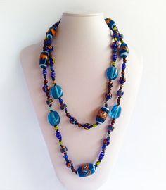 Tanesha - Blue Glass Beads | Indigo Heart - Fair Trade Fashion A$34.95 Fair Trade Fashion, Bali, Indigo, Glass Beads, Artisan, Beaded Necklace, Heart, Collection, Jewelry
