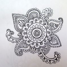 Henna flower doodle henna designs by lindsay Mandalas Painting, Mandalas Drawing, Zentangle Drawings, Flower Tattoo Drawings, Flower Tattoo Designs, Indian Henna Designs, Mehndi Designs, Henna Doodle, Doodle Art