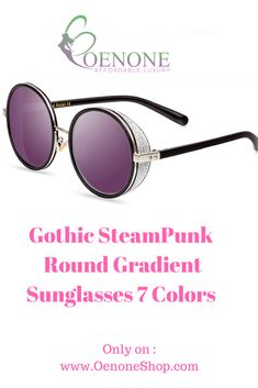 35ecd34191a Gothic SteamPunk Round Gradient Sunglasses 7 Colors